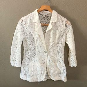 FRANCESCA'S Ivory lace see through blazer jacket